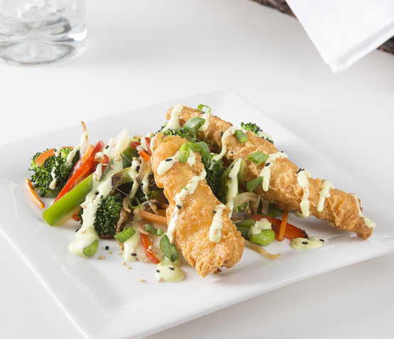 Tempura Chicken with Vegetable Stir-Fry