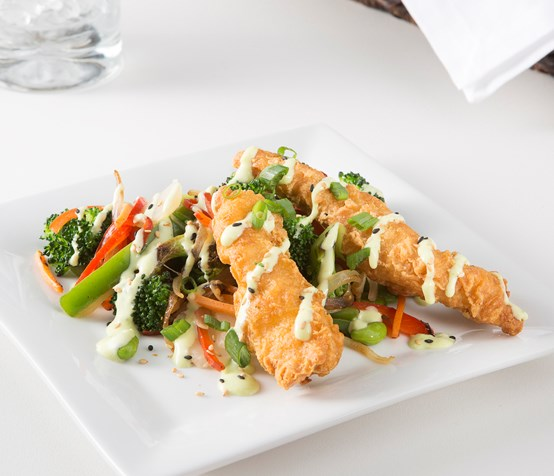 Tempura Chicken with Vegetable Stir-Fry image