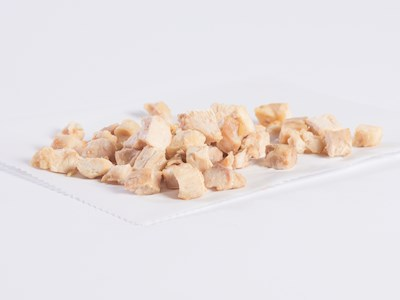"CN Diced 1/2"" White and Dark Chicken Meat Strips"